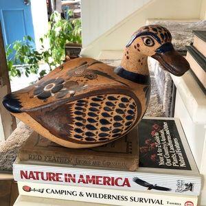 Tonala Mexican Pottery Duck Home Accent Garden art